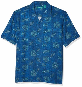 Cubavera Men's Handsketched Hibiscus Print Short Sleeve Button-Down Shirt