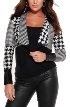 Belldini Black Label Multi Houndstooth Cropped Sweater Blazer