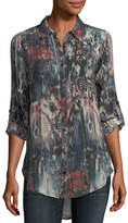 Tolani Evelyn Button-Front Abstract-Print Silk Tunic