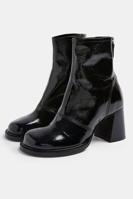 Topshop Womens Milo Black Leather Chunky Scoop Toe Boots - Black