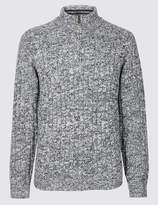 M&S CollectionMarks and Spencer Textured Zip Neck Jumper with Wool
