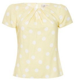 Dorothy Perkins Womens Billie & Blossom Petite Yellow And White Spot Print Shell Top, Yellow