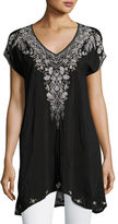 Johnny Was Suavecita Long V-Neck Embroidered Tunic