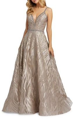Mac Duggal Plunging Neckline Lace & Beads Overlay Ball Gown