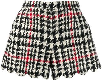 RED Valentino Houndstooth Patterned Scalloped Hem Shorts