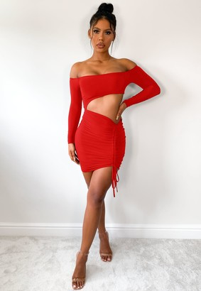 Missguided Red Bardot Ruched Cut Out Mini Dress