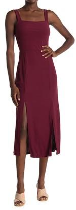 GOOD LUCK GEM Square Neck Double Slit Midi Dress