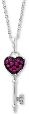 "Effy Certified Ruby (1/8 ct. t.w.) & Diamond Accent 18"" Key Pendant Necklace in 14K White Gold"