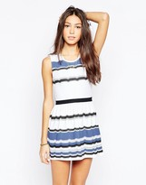 Your Eyes Lie Mixed Stripe Skater Dress