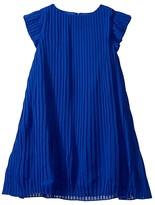 BCBGMAXAZRIA Girls Girls Pleated Chiffon Dress (Big Kids) (Dazzling Blue) Girl's Clothing