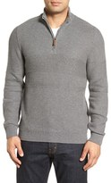Nordstrom Texture Cotton & Cashmere Quarter Zip Sweater (Regular & Tall)