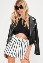 Missguided Petite White Striped Drawstring Shorts, White