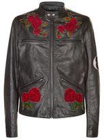 Dolce & Gabbana Cross-stitch Floral Leather Jacket