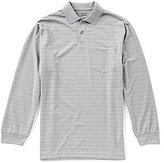 Roundtree & Yorke Travel Smart Long-Sleeve Stripe Pocket Polo