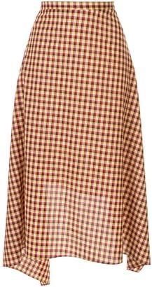 Ports 1961 check asymmetric midi skirt