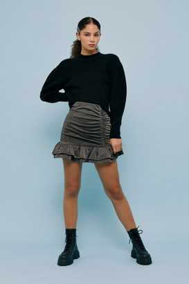 Topshop Womens Silver Ponte Ruched Mini Skirt - Silver