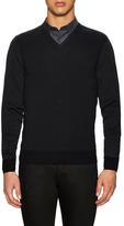Lanvin Merino Contrast V-Neck Sweater