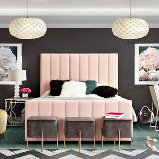 Diamond Sofa Venus Vertical Channel Tufted Upholstered Standard Bed Color: Blush Pink, Size: King