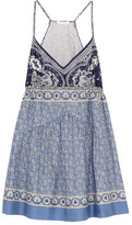 Chloé Printed Cotton-voile Mini Dress - Blue