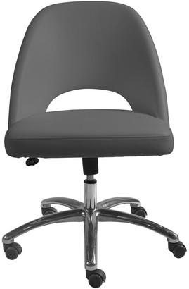 Euro Style Teague Low Back Office Chair in Gray with Polished Aluminum Base