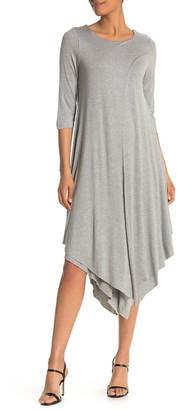 Papillon Layered 3/4 Sleeve Jersey Midi Dress