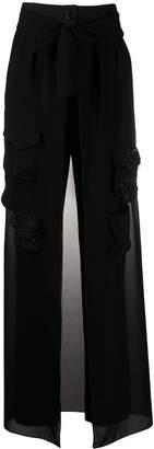 Almaz embellished skirt-overlay trousers