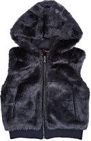 Imoga Faux-Fur Hooded Vest-NAVY
