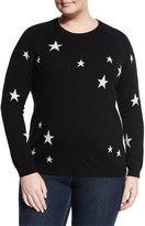 Neiman Marcus Cashmere Star Intarsia Sweater, Black/Ivory, Plus Size