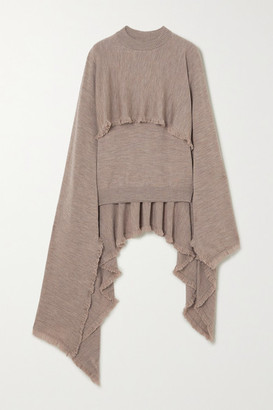 Deveaux Cape-effect Frayed Merino Wool Sweater - Stone