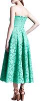 Valentino Strapless Heavy-Lace Maxi Dress, Mint