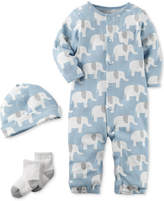 Carter's 3-Pc. Cotton Elephant-Print Hat, Coverall and Socks Set, Baby Boys
