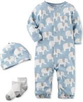 Carter's 3-Pc. Cotton Elephant-Print Hat, Coverall & Socks Set, Baby Boys