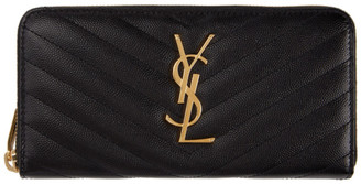 Saint Laurent Black Monogramme Zip Around Wallet