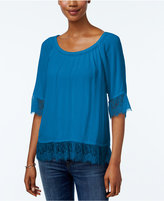 INC International Concepts Petite Lace-Trim Peasant Blouse, Only at Macy's