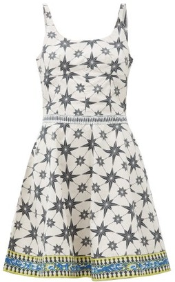 Le Sirenuse, Positano - Cindy Star-print Cotton-poplin Mini Dress - Green Print