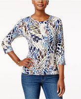 Alfred Dunner Embellished Animal-Print Top
