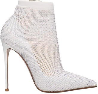 Le Silla High Heels Ankle Boots In White Synthetic Fibers