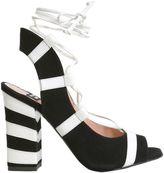 Moschino Striped Sandal With Block Heel