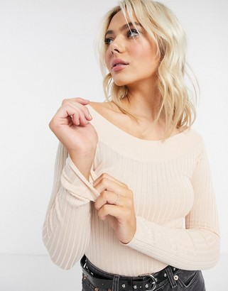Brave Soul ribbed bardot knitted top in pink