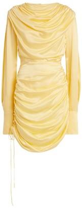 MATÉRIEL Draped Satin Mini Dress