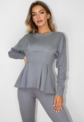 Missguided Gray Co Ord Ruched Waist Knit Top