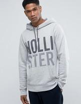 Hollister Logo Print Hoodie Modern Athletic Print Regular Fit In Grey Marl