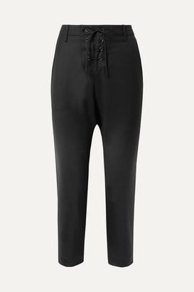 Nili Lotan Paris Cropped Lace-up Wool-twill Pants - Black