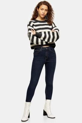 Topshop Womens Petite Blue Black Jamie Jeans - Blue Black