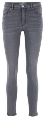HUGO BOSS Skinny-fit cropped jeans in mid-grey stretch denim