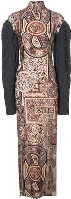 Vera Wang knit sleeve printed maxi dress