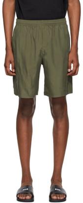 MSGM Khaki Silk Iridescent Shorts