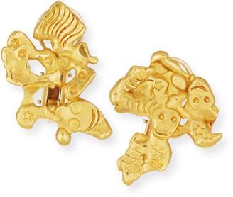 Jean Mahie Carved 22K Gold Face Earrings