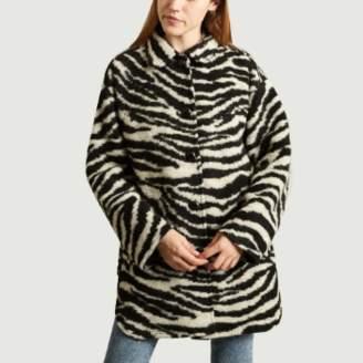 IRO Paris Paris - Black Polyester and Acrylic Zebra Bera Coat - black | 34 | Polyester / Acrylic - Black/Black