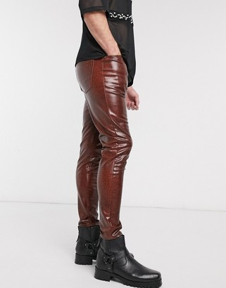 ASOS DESIGN skinny high waisted vinyl jeans in brown crocodile